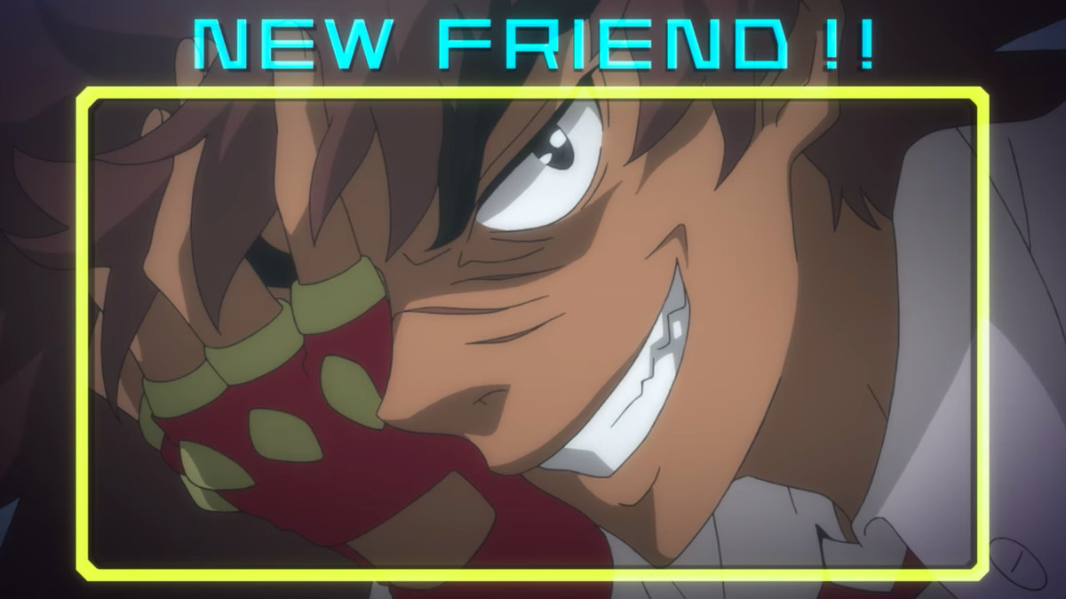"""Philly the Kid from Cannon Busters grins madly, covering half of his face with one hand. His face is framed by a yellow line and a title at the top of the image reads, """"New friend!!"""""""