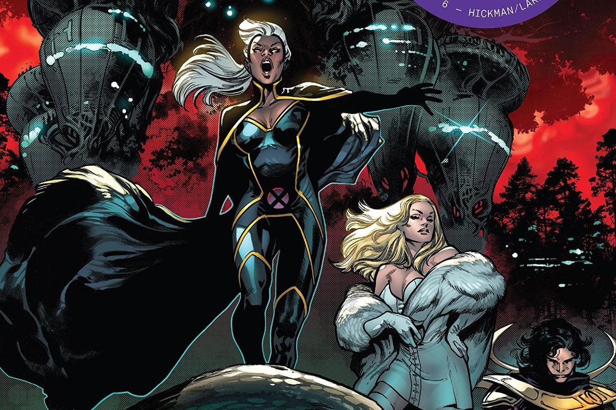 Storm, Emma Frost, and Exodus on the cover of House of X #6, Marvel Comics (2019).