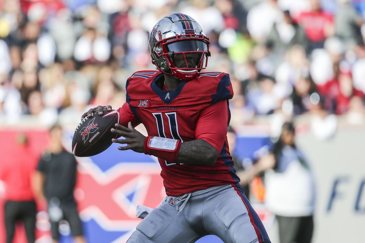 Houston Roughnecks quarterback P.J. Walker attempts a pass during the first quarter against the Los Angeles Wildcats in a XFL football game at TDECU Stadium.
