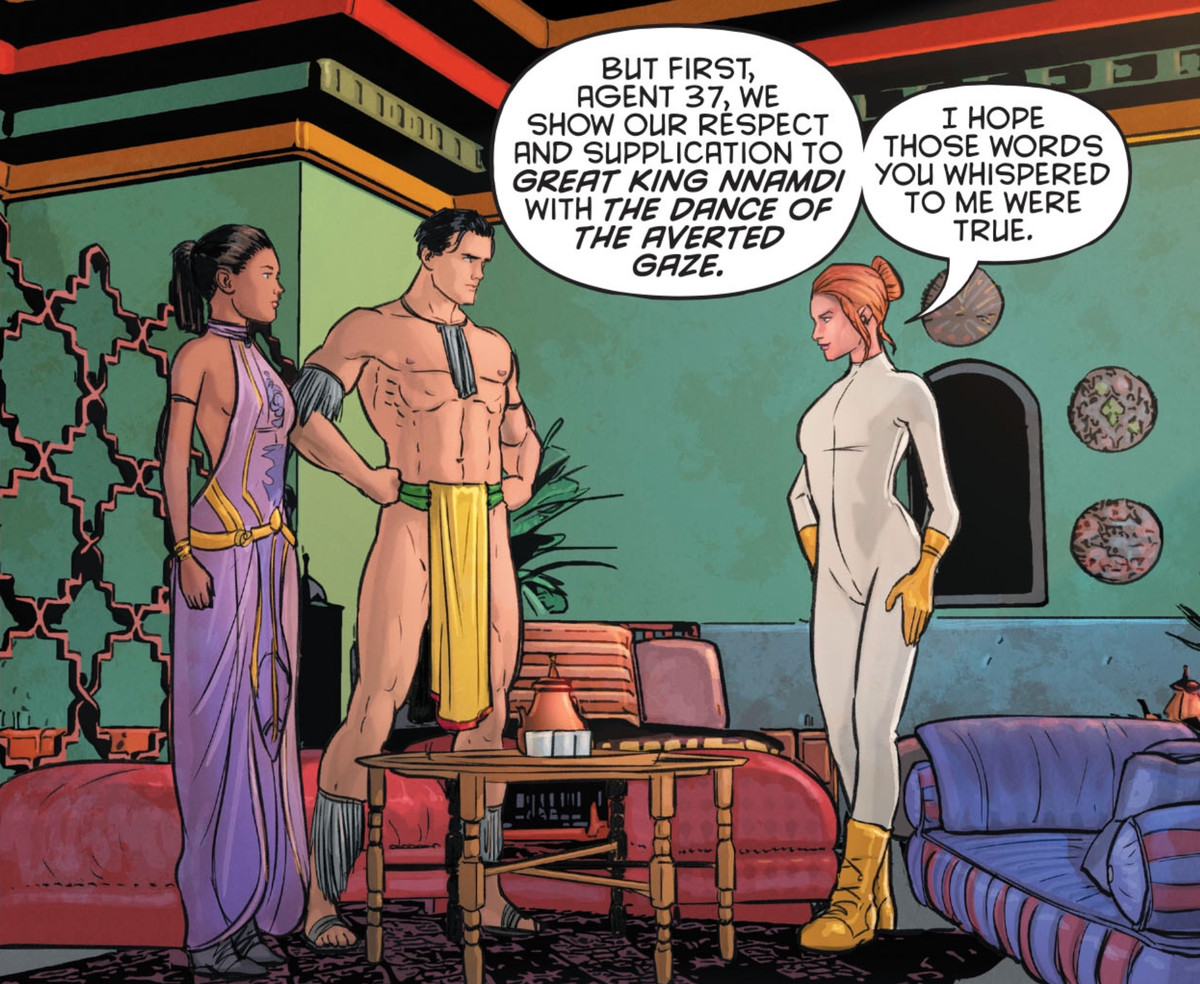 Dick Grayson and his partner talk with their Gorilla City contact in a fancifully decorated room. Dick is wearing basically just a loincloth, in Robin 80th Anniversary 100-Page Super Spectacular, DC Comics (2020).
