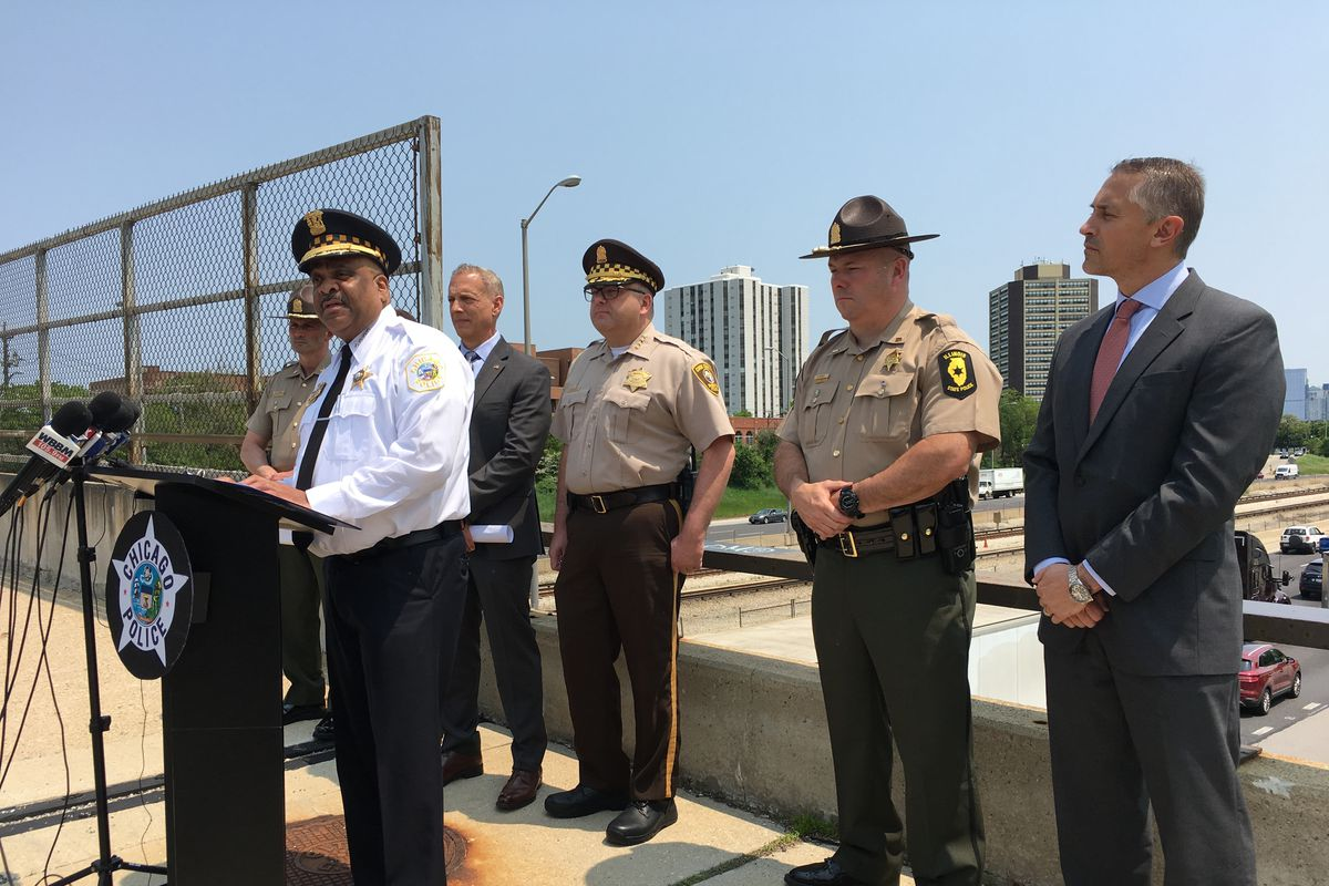 Chicago Police Supt.Eddie Johnson (left) announces a new set of police surveillance cameras along the Eisenhower Expressway, May 31, 2019.