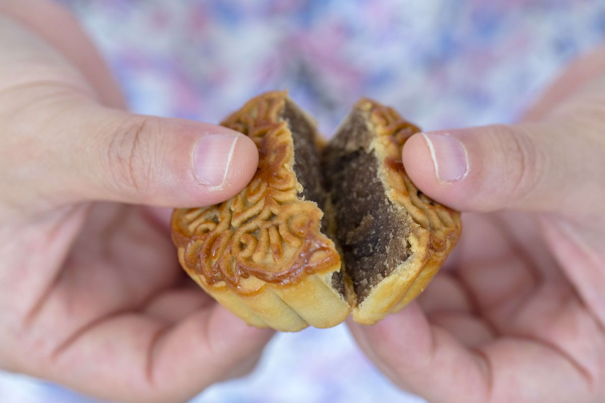 Filling of a moon cake, arranged for photography. Mid-...