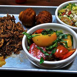 """Pulled pork shoulder with accompaniments at Southpaw. <a href=""""http://www.flickr.com/photos/fuzzytraveler/7469752580/in/pool-520531@N21"""">the fuzzytraveler</a>"""