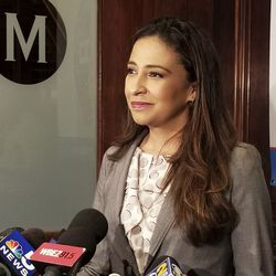 Erika Harold speaks to The City Club of Chicago, in Chicago in September. (AP File Photo by Sophia Tareen)