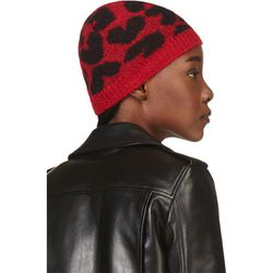 "<b>Saint Laurent</b> beanie, <a href=""https://www.ssense.com/women/product/saint_laurent/black-red-mohair-heart-beanie/109318"">$148</a>"