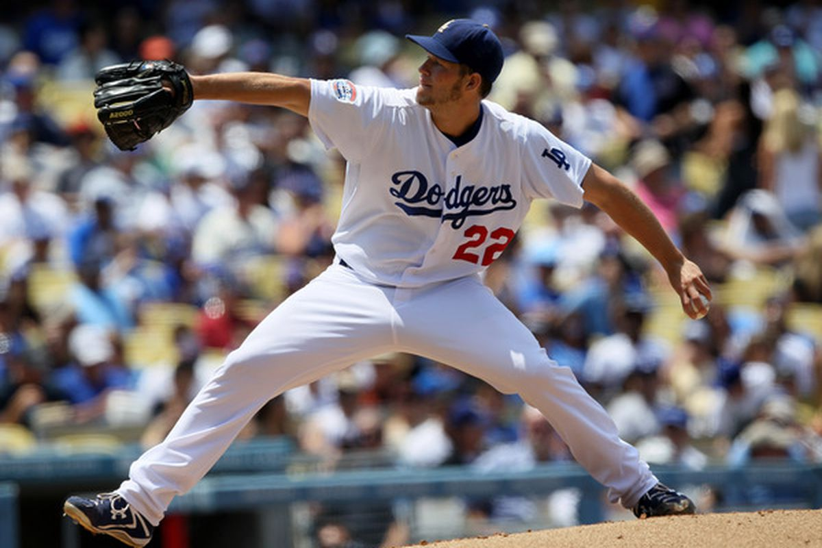 LOS ANGELES - JULY 25:   Pitcher Clayton Kershw #22 of the Los Angeles Dodgers throws a pitch against the New York Mets on July 25 2010 at Dodger Stadium in Los Angeles California.  (Photo by Stephen Dunn/Getty Images)