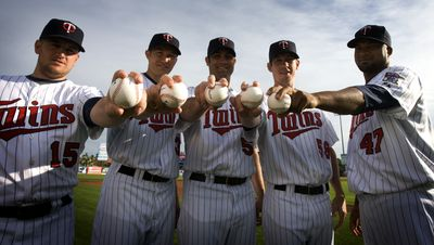 JERRY HOLT •jgholt@startribune.com 2/25/09-----] (photos for speical section) ----} Glen Perkins, Scott Baker,Nick Blackburn,Kevin Slowey, and Francisco Liriano Twins starting pitchers.