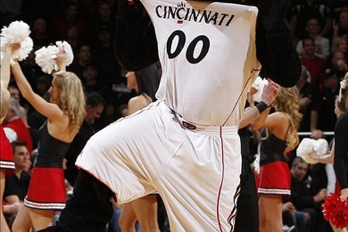 Feb 23, 2012; Cincinnati, OH, USA; Cincinnati Bearcats mascot performs during the game against the Louisville Cardinals at the FifthThird Arena. The Bearcats defeated the Cardinals 60-56. Mandatory Credit: Frank Victores-US PRESSWIRE