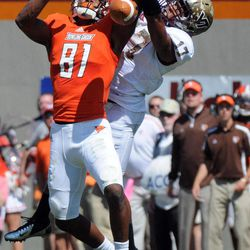 Virginia Tech cornerback Kyle Fuller (17) breaks up a pass against Bowling Green wide receiver Chris Galion (81) during the first half of an NCAA college football game Saturday, Sept. 22, 2012 at Lane Stadium, in Blacksburg, Va.
