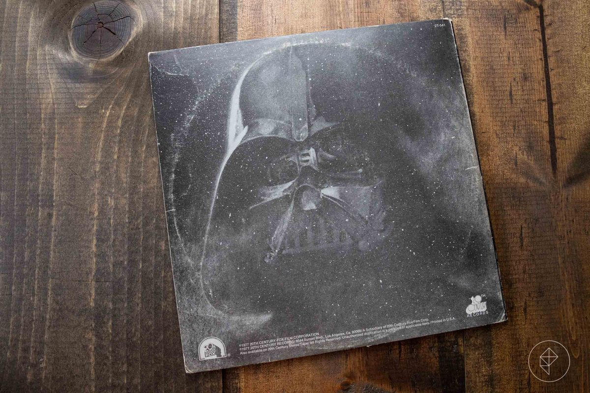 The back cover of the vinyl record sleeve for the Star Wars soundtrack, featuring Darth Vader.