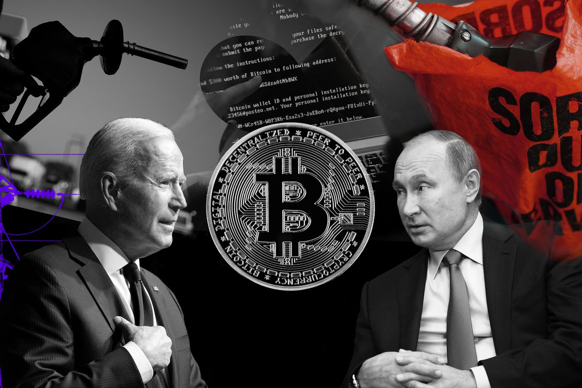 A photo illustration of presidents Biden and Putin sitting on either side of a large coin representing a bitcoin.