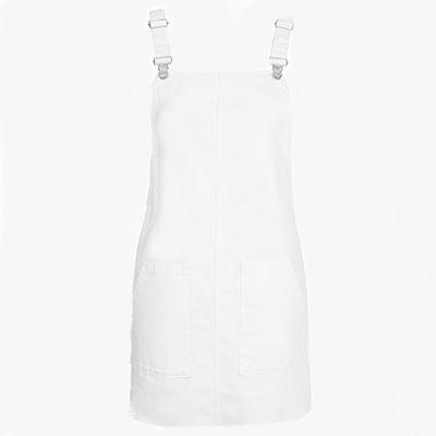 White denim pinafore dress.