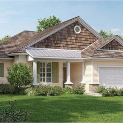 In this rendering released by Homeplans.com, House of the Week HMAFAPW1710 shows a three-bedroom, two bath compact luxury home with a gracious porch that welcomes guests inside.