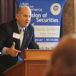 Utah State Treasurer David Damschen speaks at The Stock Market Game student awards banquet in Salt Lake City on Friday, May, 13, 2016.
