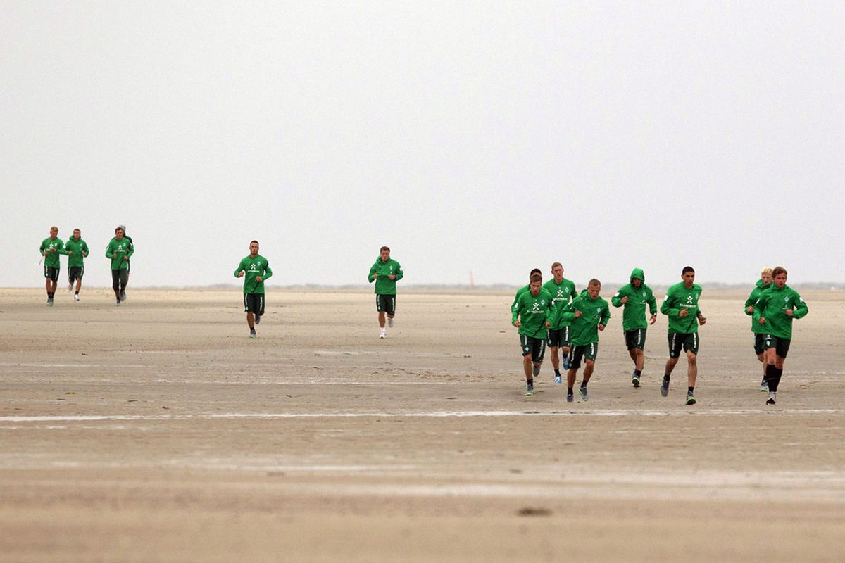 NORDERNEY, GERMANY - JULY 04:  The team of Bremen practices during the SV Werder Bremen training session on July 4, 2011 in Norderney, Germany.  (Photo by Martin Stoever/Bongarts/Getty Images)