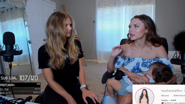 Streamer Heather Kent breastfeeds while doing a Q&A with her friend during a Twitch stream