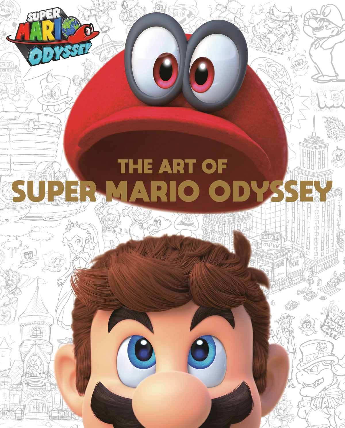 Artwork of Mario in front of pencil sketches from The Art of Super Mario Odyssey
