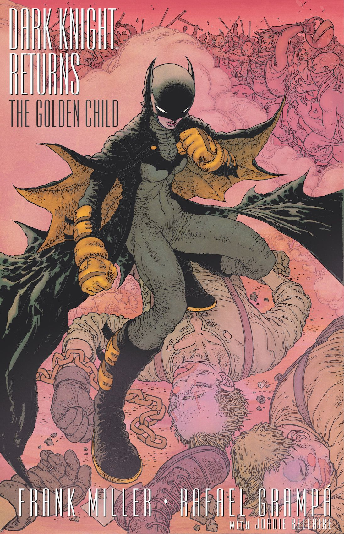 Carrie Kelly/Batwoman, in a black costume with yellow highlights, stands over some unconscious clown-faced men in the middle of a brawl, on the cover of Dark Knight Returns: The Golden Child, DC COmics (2019).