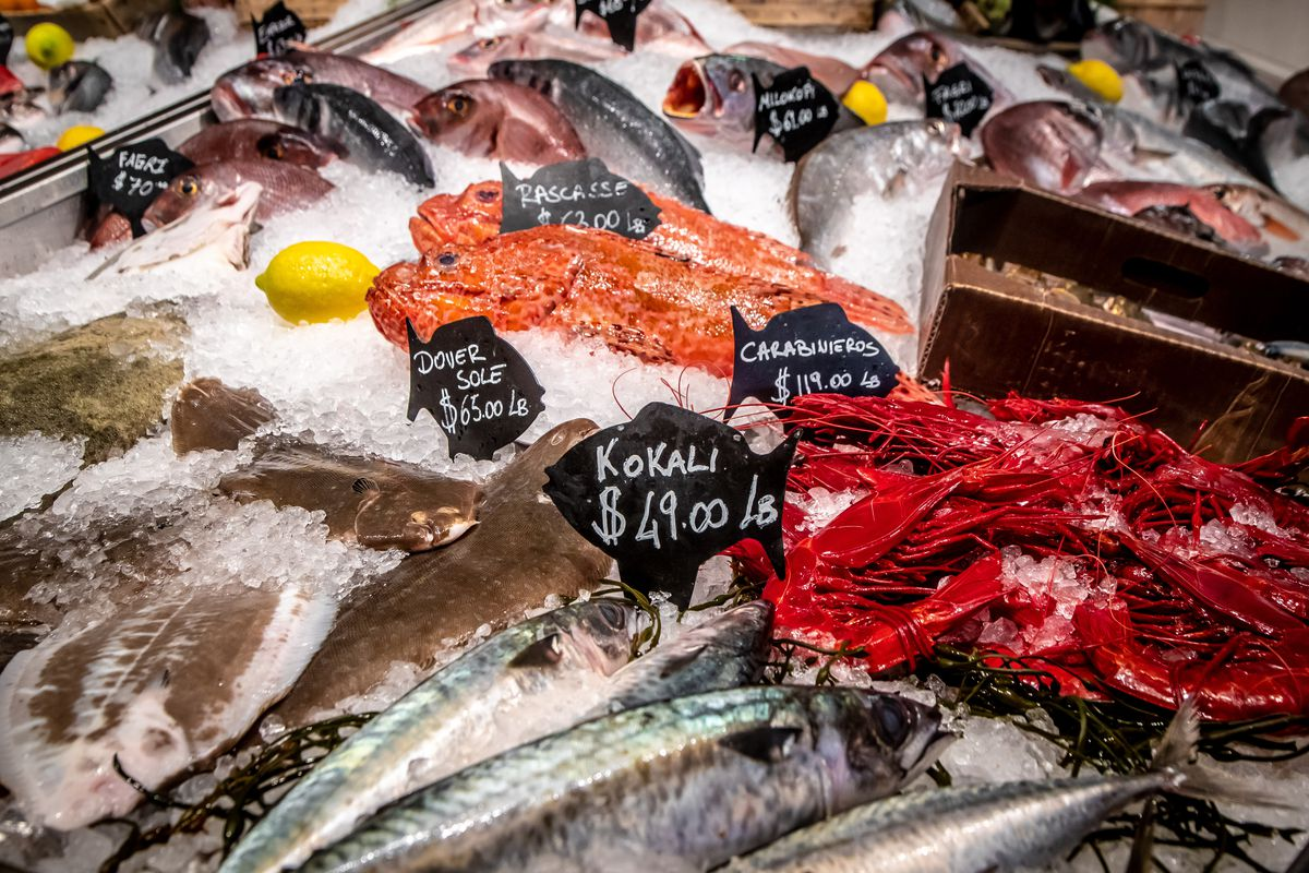 The fish selection at Estiatorio Milos