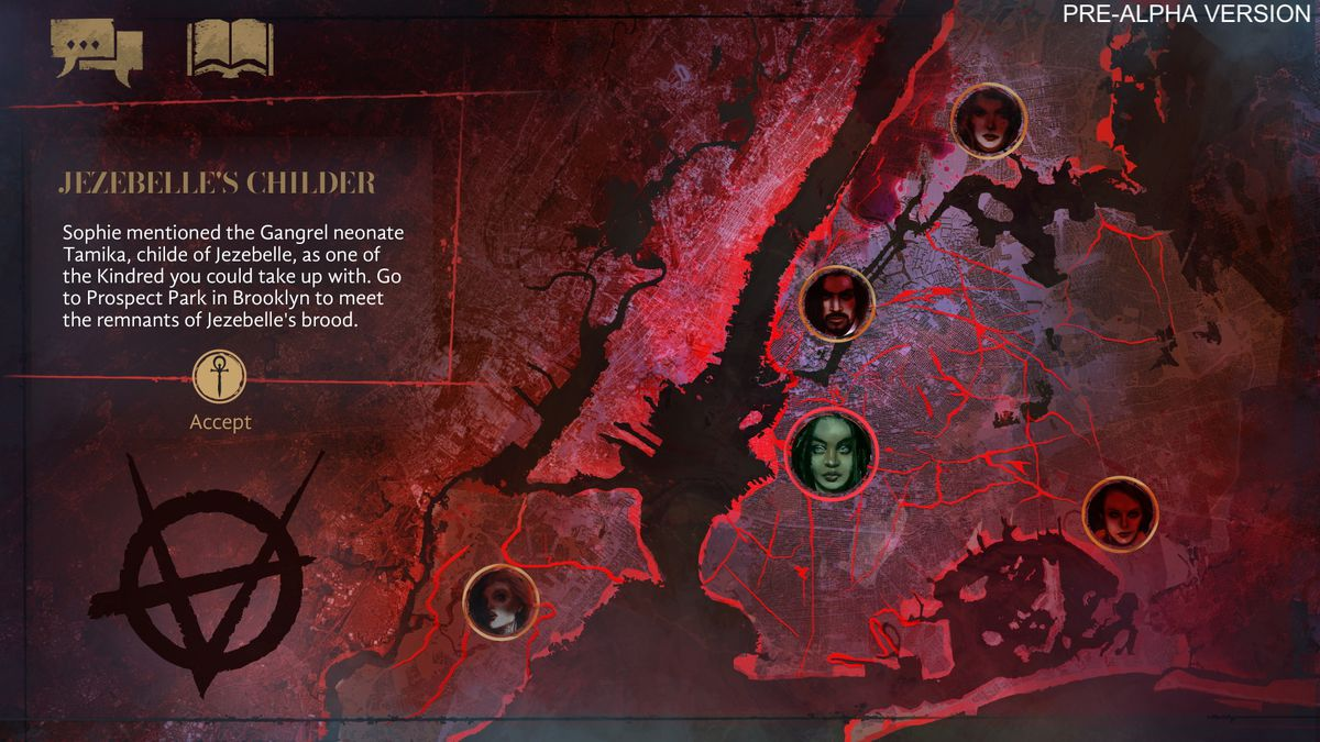 A larger map showing the text of Jezebelle's narrative decision point, overlayed atop a larger map of New York.  the streets are blood red and the water is black.