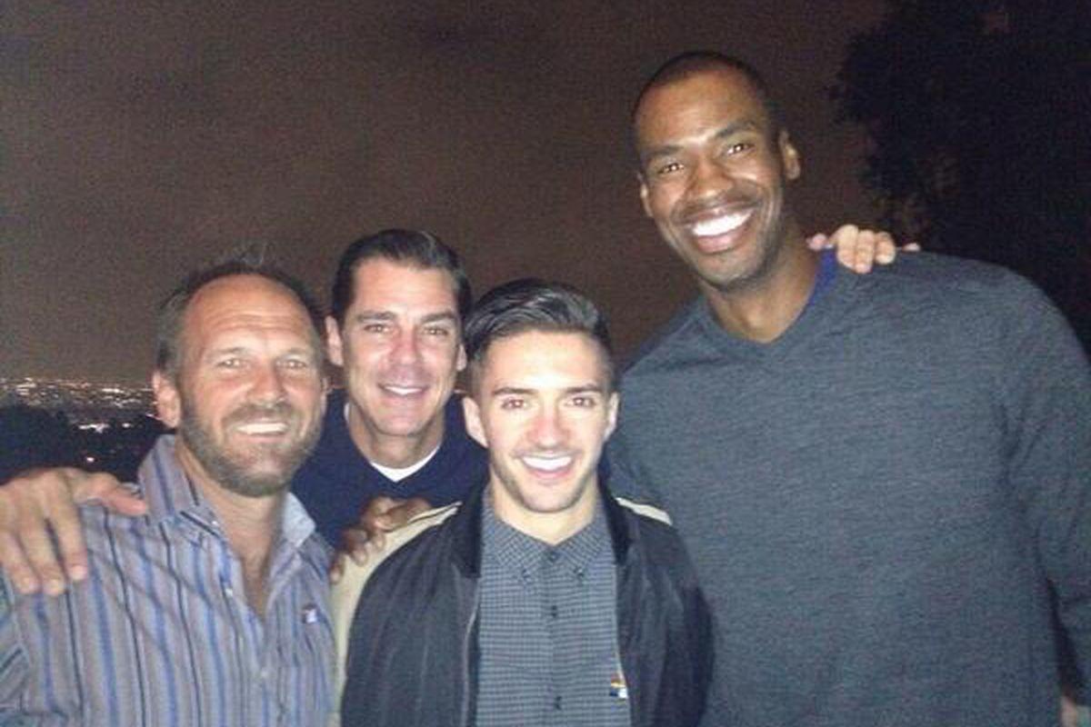 Kirk Walker (left) with Billy Bean, Blake Skjellerup and Jason Collins.