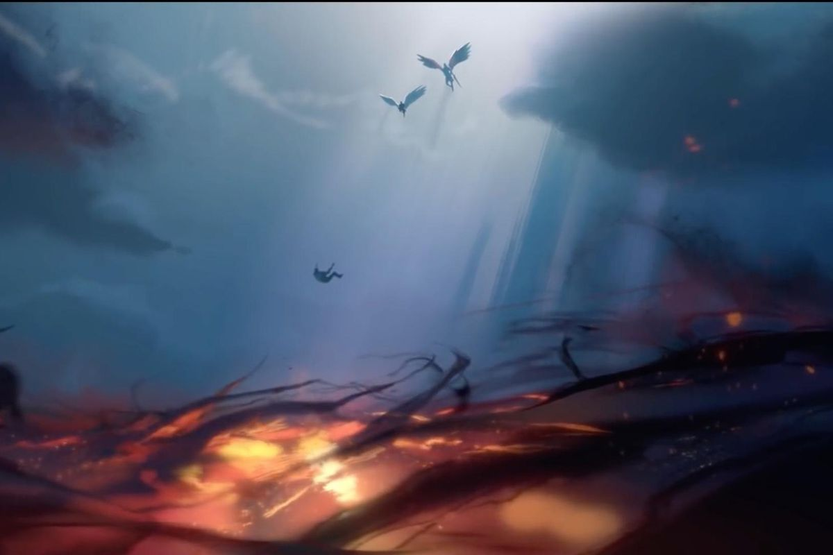 Afterlives: Bastion - Two angelic figures are high above a sea of roiling red energy. They throw a man into the Maw from above.