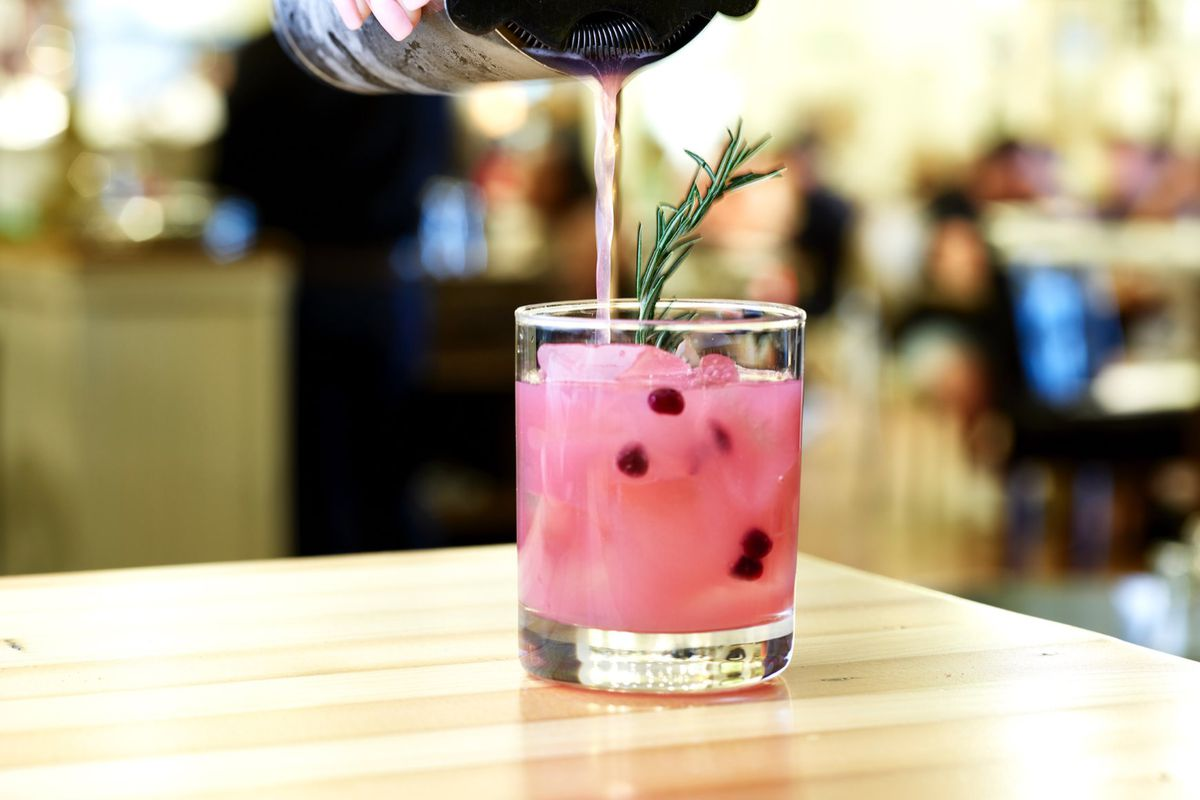 A pink cocktail