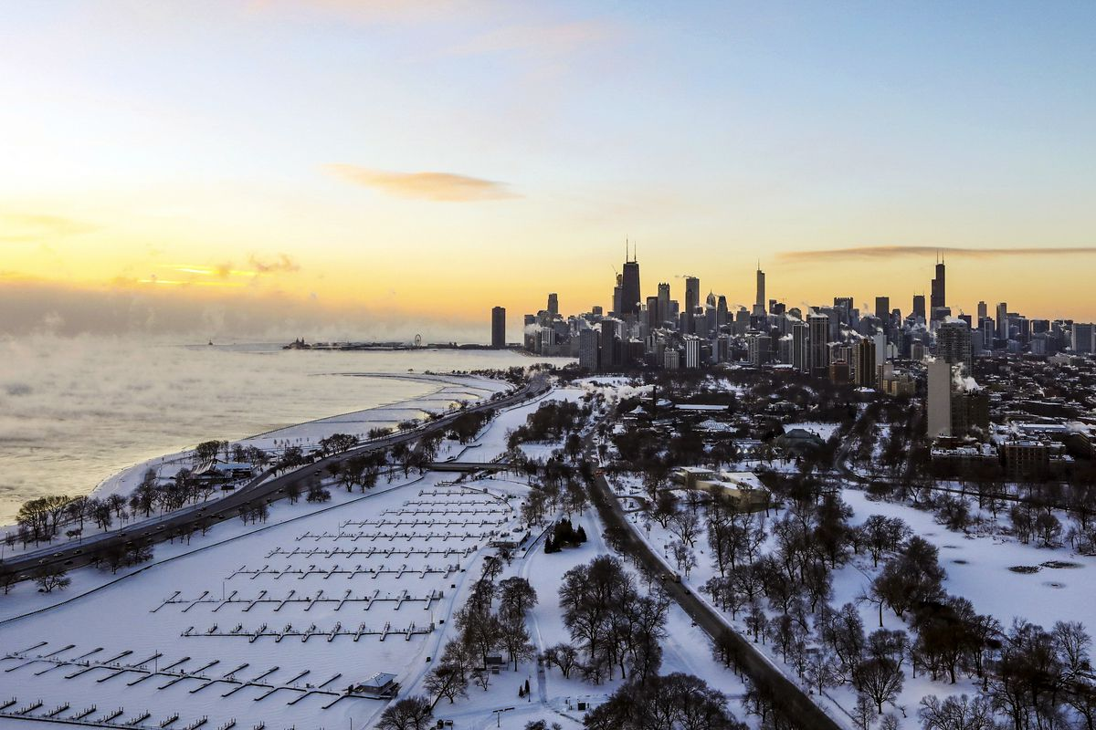 Chicago's lakefront covered with ice.Teresa Crawford/AP