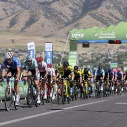 Cyclists compete in Stage 1 of the Tour of Utah in North Logan on Tuesday, Aug. 13, 2019.