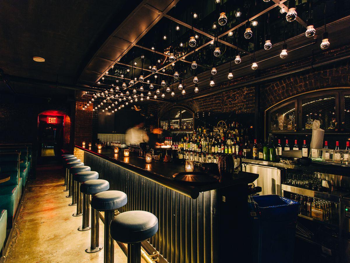 A dimly lit bar
