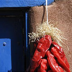 The summer's peppers are hung by nearly every doorway. One of the best places to see locally grown produce is at the Farmers Market.