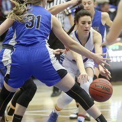 Carbon plays Richfield in the 3A girls basketball quarterfinals at the Lifetime Activities Center in Taylorsville on Thursday, Feb. 20, 2020. Richfield won 50-36.