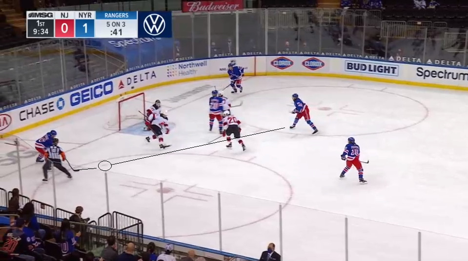 April 17: This is a bit harsh as it is a 3-on-5 for New Jersey.  Still, the general principle in a two man disadvantage is to protect the slot. This includes denying seam passes cross it.  One was made to Ryan Strome, who would finish it on the goalie's flank from a sharp angle.