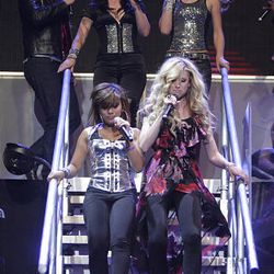 Ramiele Malubay, left, and Brooke White perform during the American Idols Live concert at the E Center in West Valley on Monday night.