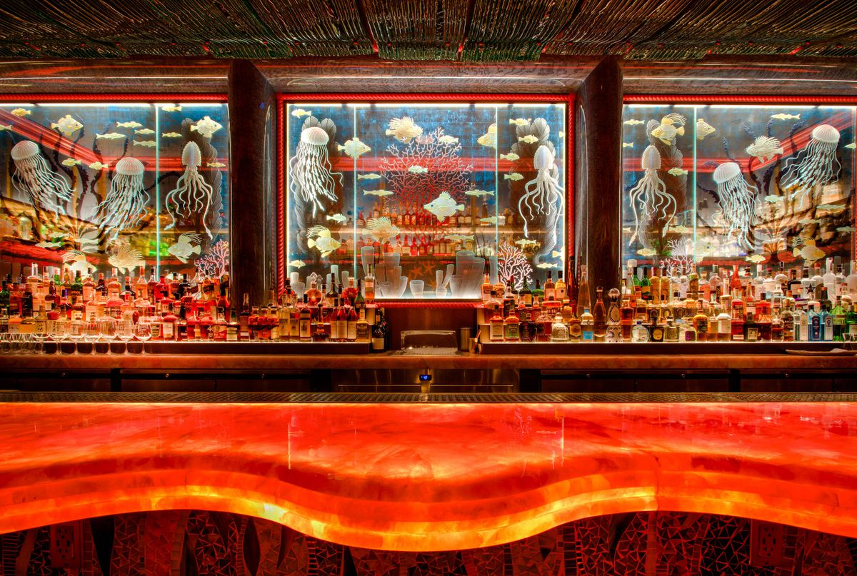 The bar in the front room at The Mayfair Supper Club