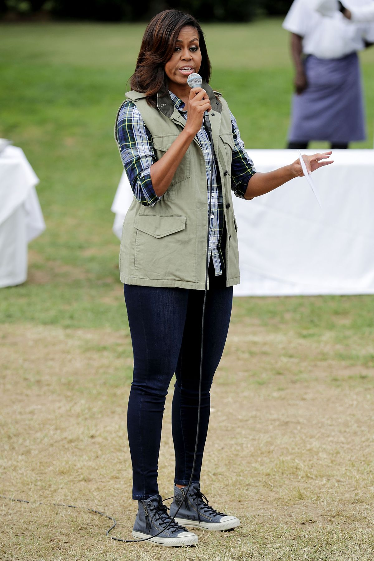Michelle Obama looking casual in the White House garden in October 2016.