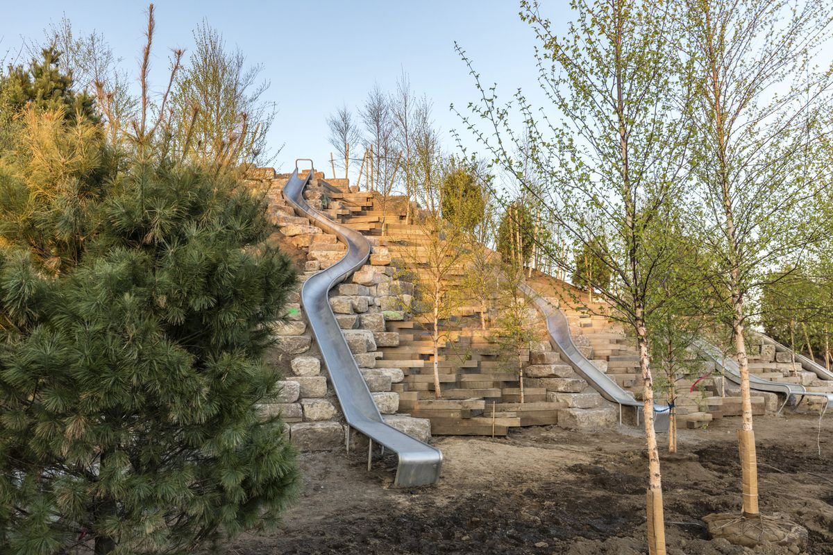 Slide Hill features three curving steel slides.
