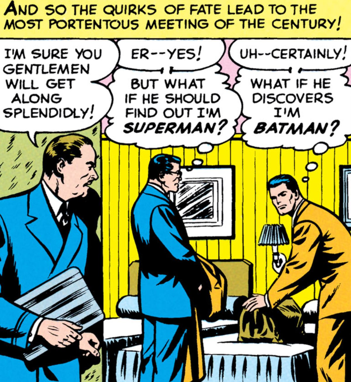 """A porter shows Clark Kent and Bruce Wayne to their shared room. """"But what if he should find out I'm Superman?"""" Clark thinks. """"What if he discovers I'm Batman?"""" Bruce wonders, in Superman #76, DC Comics (1952)."""
