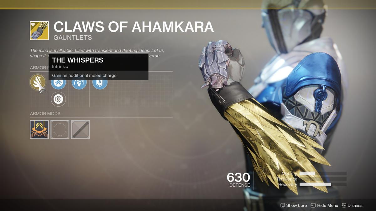 Claws of Ahamkara Exotic Destiny 2