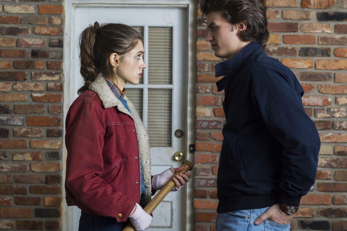 Natalia Dyer as Nancy Wheeler and Joe Keery as Steve Harrington on Stranger Things.