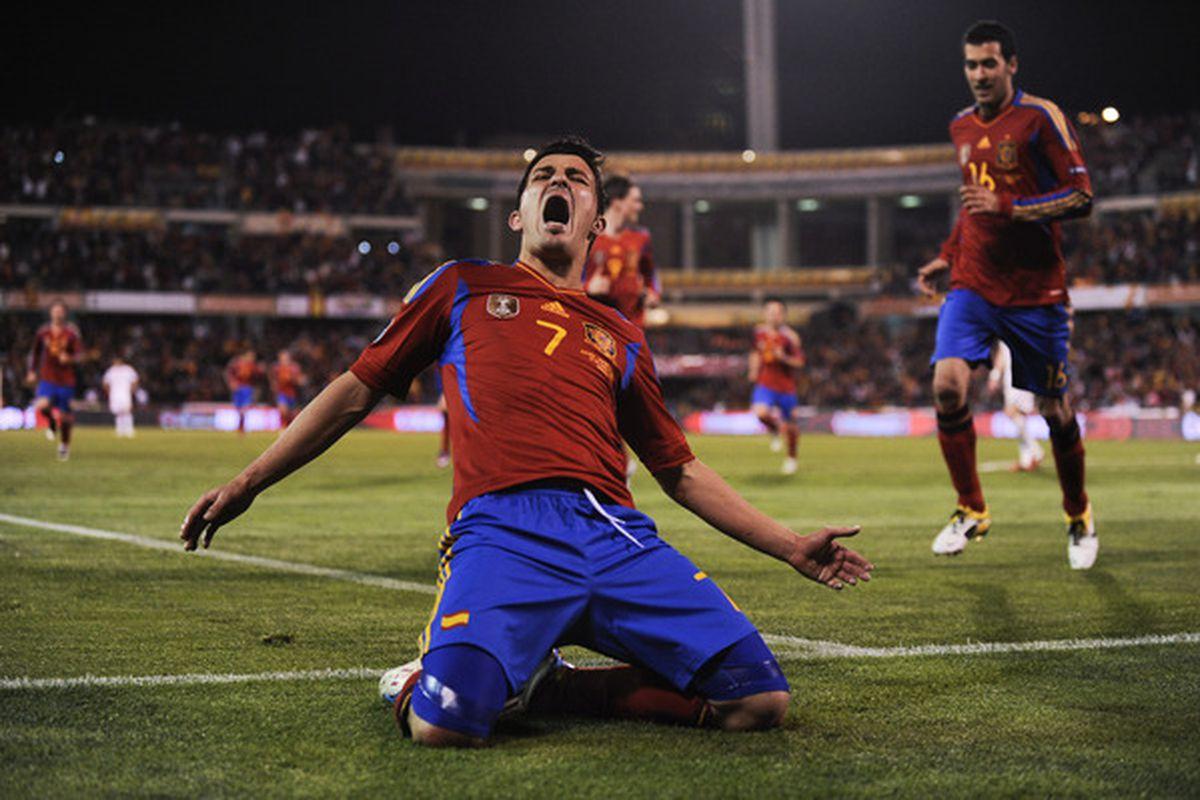 Villa scored twice on his latest endeavor with Spain.