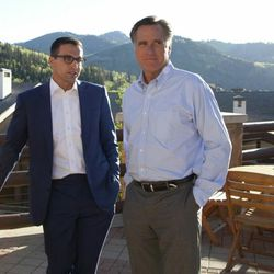 FILE - Mitt Romney and Spencer Zwick, national finance chairman for Romney's 2012 presidential campaign, at this summer's Deer Valley retreat for campaign donors and investors in Solamere, a Boston-based private equity firm founded by Zwick and Romney's son Tagg.