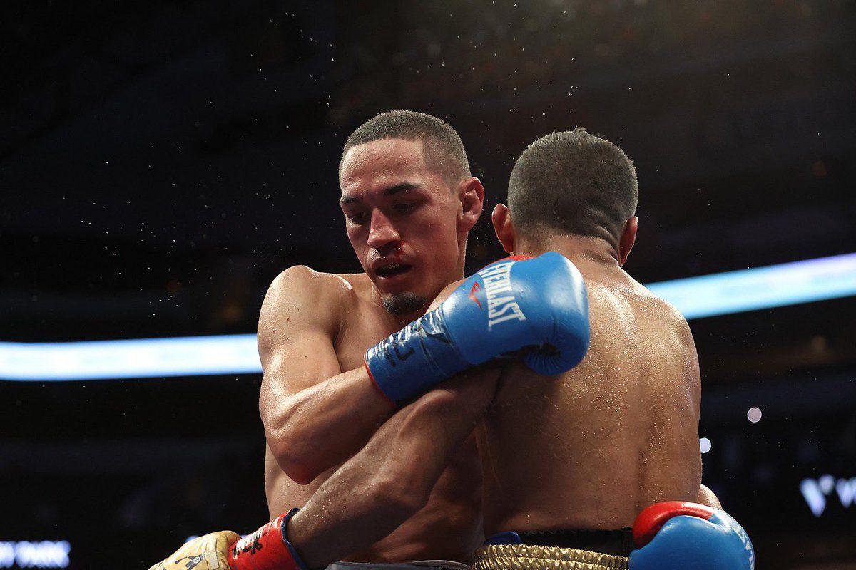 Juan Francisco Estrada (left) and Roman 'Chocolatito' Gonzalez (right) embrace after their 12-round boxing thriller in Dallas, Texas.