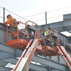 Steel workers in left field -