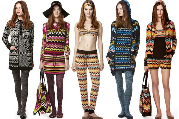 Models wearing zigzag-patterned clothes.