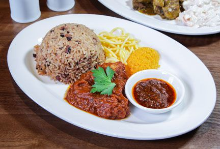 Rice and stew at Sweet Handz, one of the best value restaurants in north London