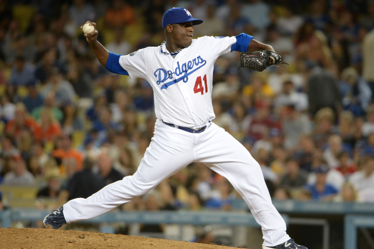 Aug 22, 2012; Los Angeles, CA, USA; Los Angeles Dodgers reliever Rubby De La Rosa (41) delivers a pitch against the San Francisco Giants at Dodger Stadium. The Giants defeated the Dodgers 8-4. Mandatory Credit: Kirby Lee/Image of Sport-US PRESSWIRE