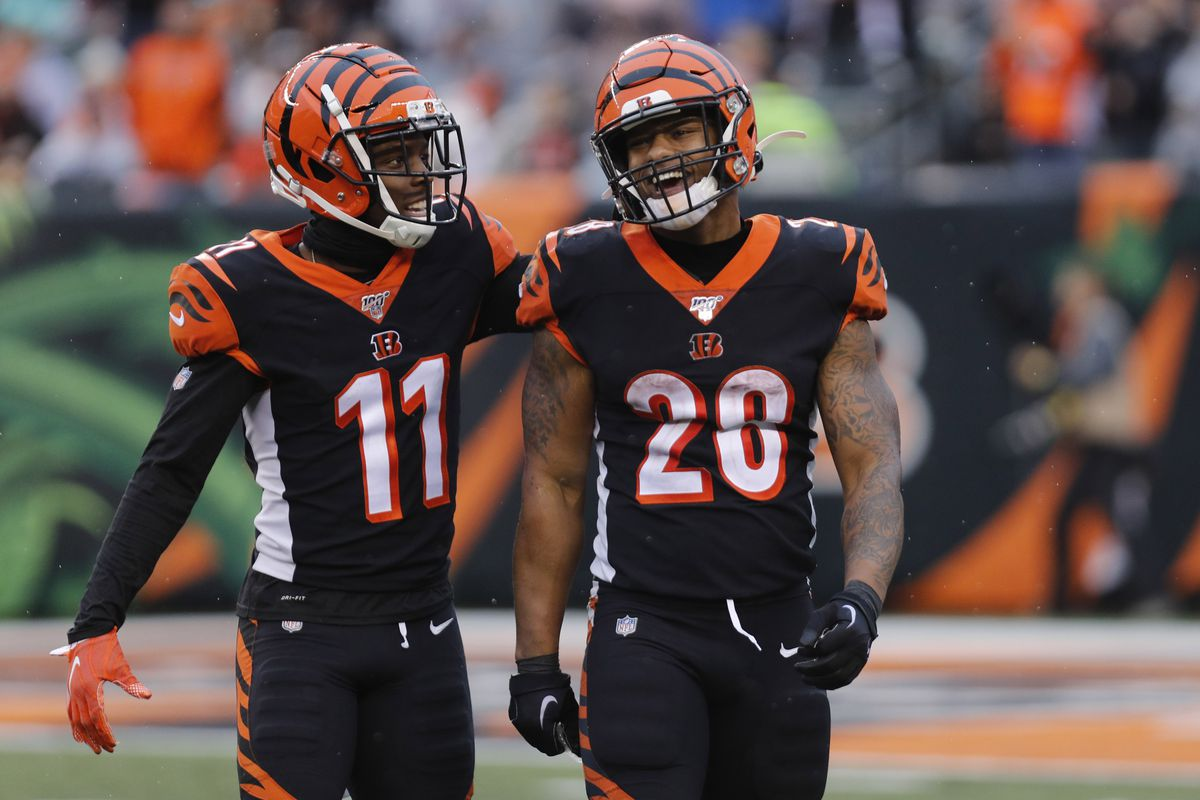 Bengals running back Joe Mixon reacts with Cincinnati Bengals wide receiver John Ross after a play against the Cleveland Browns during the second half at Paul Brown Stadium.