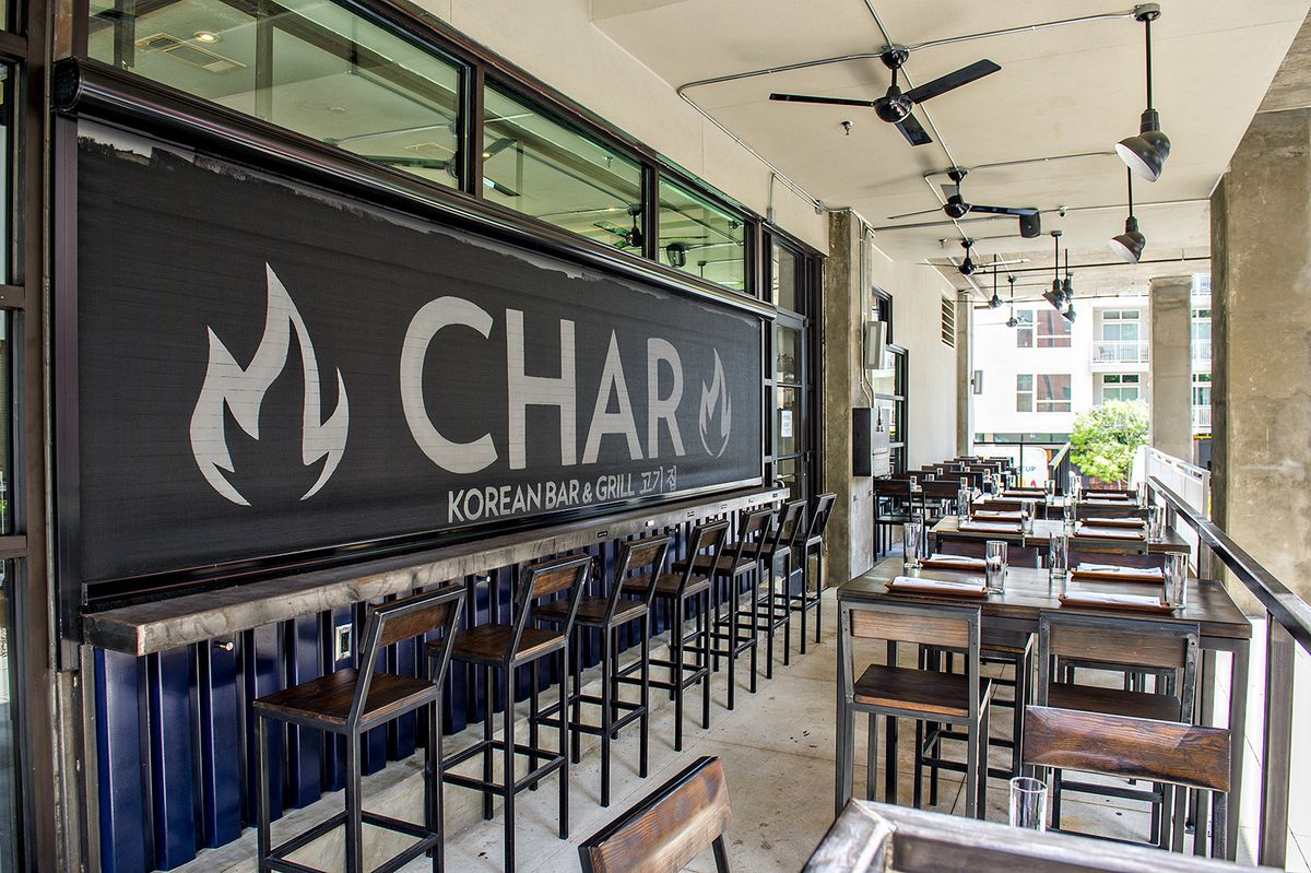 The covered patio at Char.