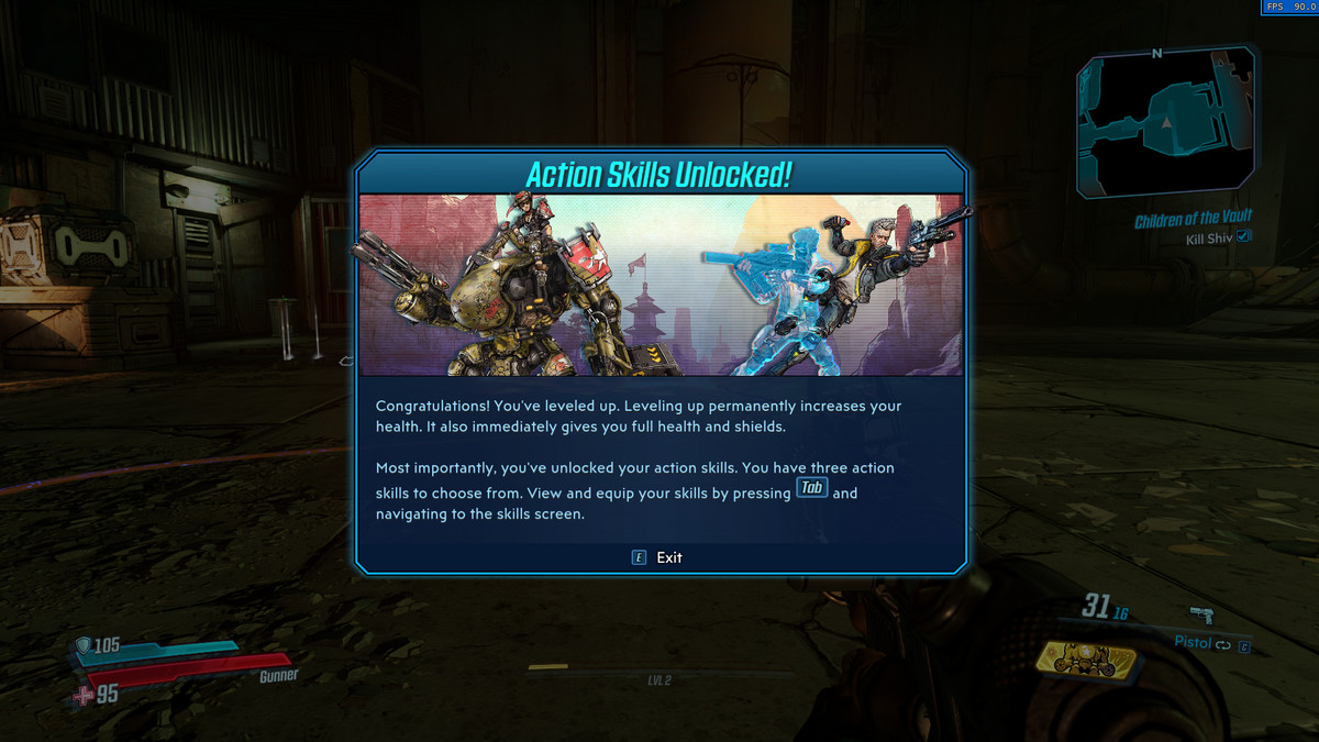 An information screen from Borderlands 3 explaining action skills